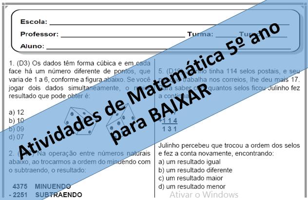 10 AVALIAÇÕES DE MATEMÁTICA DESCRITORES PARA 5º ANO